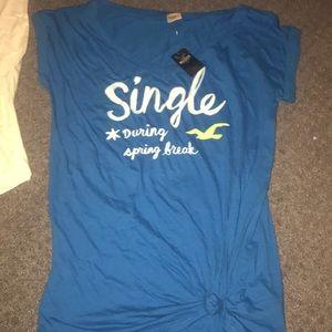 Blue single during spring break Hollister shirt